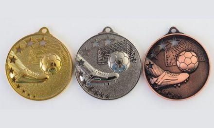 Fußballmedaillen Madrid Gold, Silber, Bronze (Glanz) 50mm