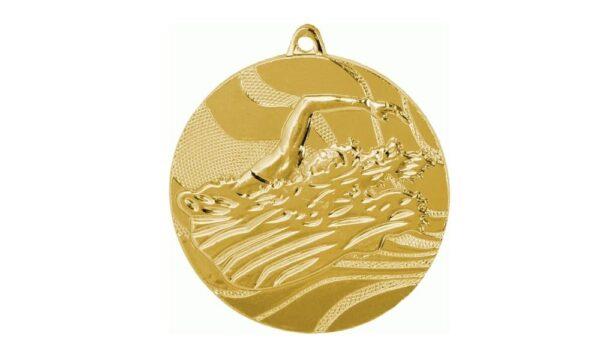 Schwimmmedaille gold geprägt