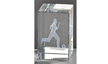 Kristallquader Fußball 8cm x 5cm