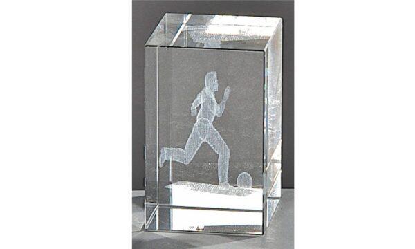 Kristallquader Fußball 8x5cm