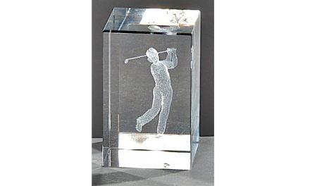 Kristallquader Golfspieler 8cm x 5cm
