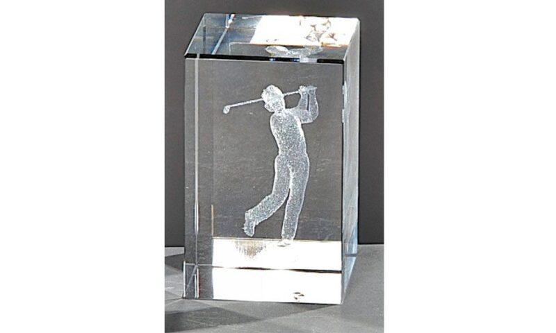 Kristallquader Golfspieler 8x5cm