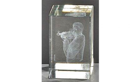 Kristallquader Gewehrschütze 8cm x 5cm