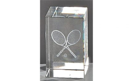 Kristallquader Tennis 8cm x 5cm
