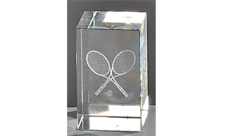 Kristallquader Tennis 8x5cm