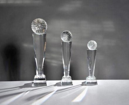 Serie Kristallglasständer mit Golfball 3er Set 23cm-34cm