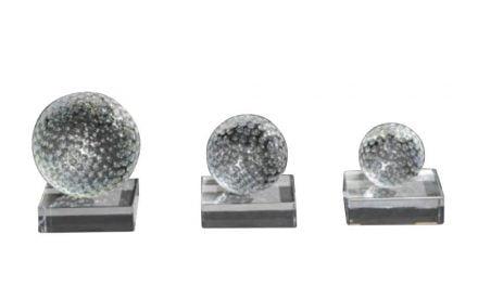 Serie Golfball Glas auf Glassockel 3er Set 6cm-9cm