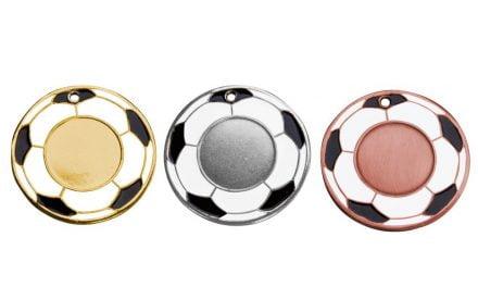 Fußballmedaillen Frankfurt Gold, Silber, Bronze (Glanz) 50mm