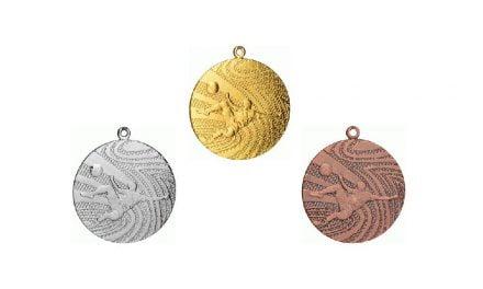 Fußballmedaillen Wels Gold, Silber, Bronze (Glanz) 40mm