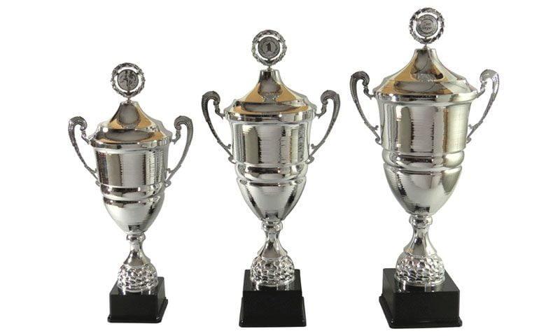 Henkelpokale Grieskirchen silber mit Holzsockel - Pokale Kreisern