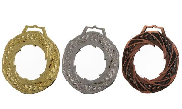 Glasmedaillen 80mm mit Metallumrandung Gold-Silber-Bronze